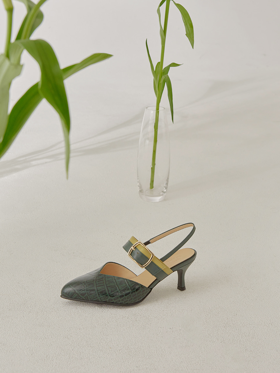 ALICE SLINGBACK(Dark green croco)